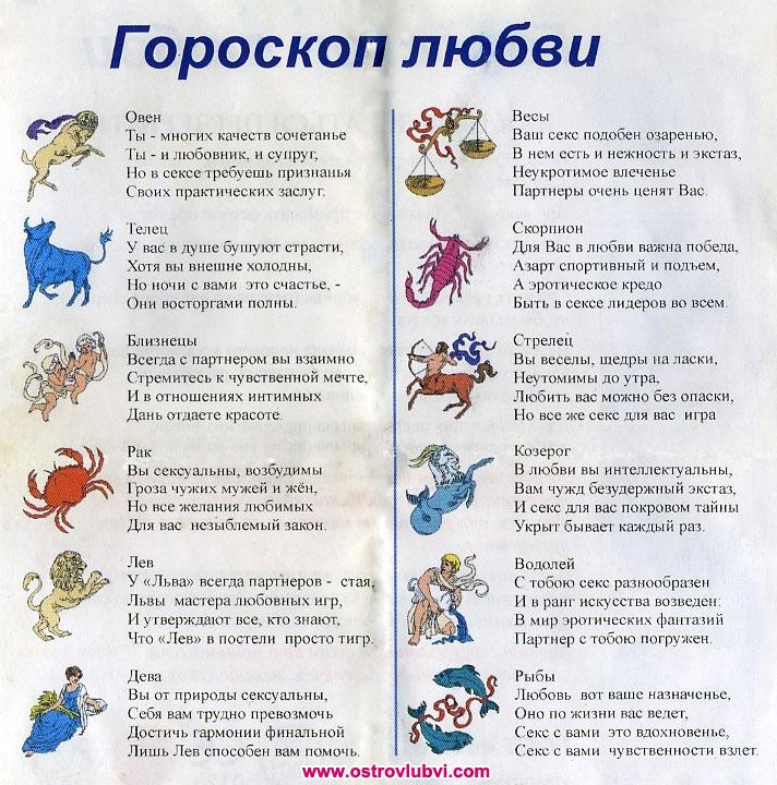 Любовный гороскоп.
