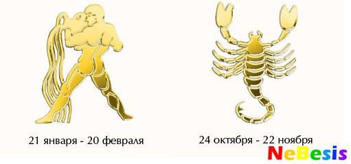 Водолей-мужчина и Скорпион-женщина.